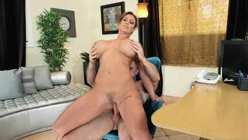 Hardcore dick riding performed by busty MILF pornstar Eva Notty