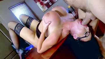 Sybil Stallone gets her fiery crack filled with blue vein meatroll of her boss