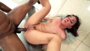 Amara Romani learns the taste of hairy black dick and spits the delicious cum