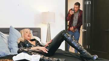 Blonde MILF Brandi Love in sexy leather suit has dirty fun with her stepson