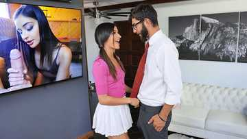 Cute Latina babysitter Emily Willis chokes on the house-owner's huge dick