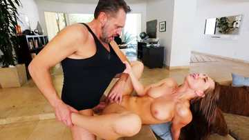 Young brunette Aidra Fox seduces her stepfather and gets pussy licking